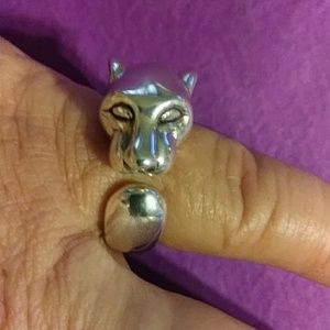 Sterling, new! Cougar / tiger BIG ring. Size 7